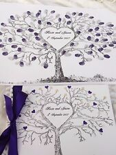 WEDDING FINGERPRINT TREE A3 & MATCHING PERSONALISED GUEST BOOK +2 ink pads BOXED