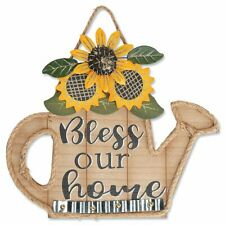 Watering Can Wooden Wall Art Sunflower Hanging Bless Our Home Room Accent Decor