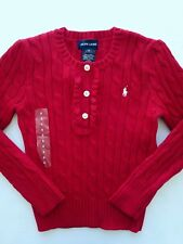 Ralph Lauren Girls Cable Sweater Pullover Red Holiday Christmas Size 5 NWT