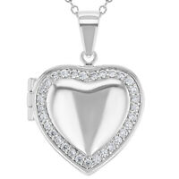 """Rhodium Plated Clear Crystal Love Heart Photo Locket Pendant Necklace 19"""""""