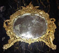 ANTIQUE VICTORIAN DESK MIRROR GILDED CAST IRON ORNATE CHERUBS ANGELS B & W