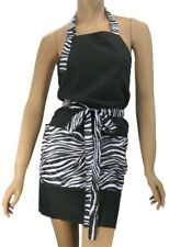 Hairstylist Dog Groomer Salon Apron In Black With Zebra Water Resist Finish