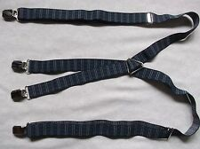 Braces Suspenders Mens Vintage CLIP ON 1970s SKINHEAD SKA NAVY BLUE STRIPED