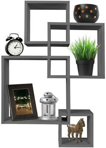 Greenco 4 Cube Intersecting Wall Mounted Floating Shelves Finish, Gray