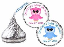 108 PINK OWL BLUE OWL BABY SHOWER FAVORS HERSHEY KISS KISSES LABELS