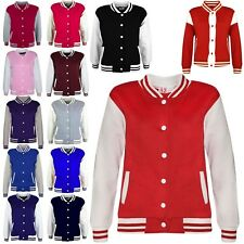 Kids Boys Girls Baseball Jacket Varsity Style Plain School Jacket Top 2-13 Years