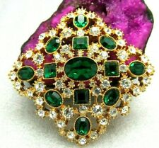 Joan Rivers Emerald Maltese Swarvoski Crystal Brooch Pin Collectors Nib