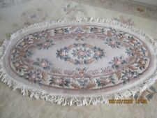 "LIGHT BEIGE CHINESE HAND TUFTED Fringed  RUG  Oval  70"" x 45"""