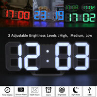 Modern Digital 3D LED Wall Table Clock Alarm Clock Snooze 12/24 Hour Display USB