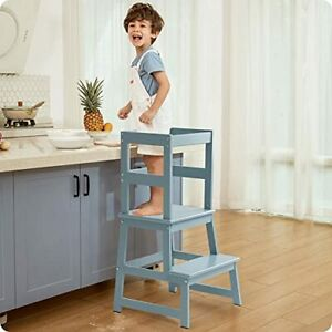 Kitchen Helper Step Stool for Kids and Toddlers with Safety Rail Children Sta...