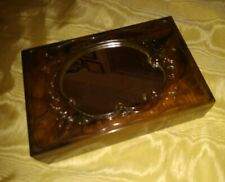 Vintage Faux Tortoise (Turtle Shell) Plastic Vanity Box with Standing Mirror