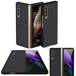 For Samsung Galaxy Z Fold 3 Smart Phone Shockproof Carbon Fiber Case Cover Black