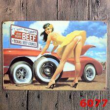 Metal Tin Sign texas beef girl  Decor Bar Pub Home Vintage Retro Poster Cafe