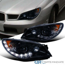 For Subaru 06-07 Impreza WRX Tinted LED Glossy Black Projector Head Lamps Lights