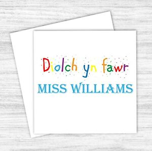 Welsh Personalised Thank You Teacher Card Teaching Assistant Headteacher Diolch