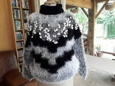 PULL tricoté main T36-38 VINTAGE 80 PULLOVER hand knitted size S