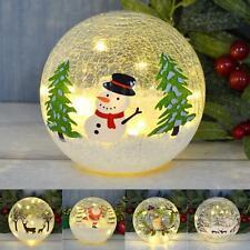 "6"" LED Crackle Ball Christmas Globe Decoration Warm White LED Light Up Ornament"