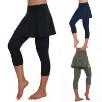 Women Sports Gym Yoga Running Fitness Leggings Pants With Skirt Size Cropped