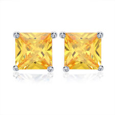 Women 1CT Princess Cut CZ Ear Stud Earrings Silver Rose Gold Plated Jewelry Gift