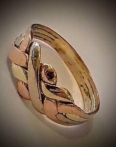 *99p AUCTION* 14ct .585 Tri Colour Gold 4 Band Puzzle Ring, UK Size X1/2, 3.9gr.