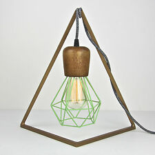 wooden industrial table lamp pendant hanging bedside wire light gold apple