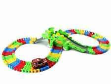 KIDS DINOSAUR FLEXIBLE TRACK CAR RACING PLAY SET TOY WITH LIGHT SOUND 128 PCS 3+