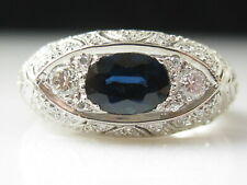 White Gold Vintage Inspired Dome Band New ListingLeVian Blue Sapphire Diamond Ring 18K