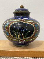 Antique Japanese Meiji Period Cloisonne Jar / Vase w/ Butterflies & Flowers Dec.