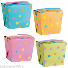 6 Pastel Spots Wedding Birthday Children's Party Gift Favour Boxes Pails