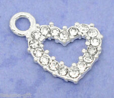 50 Silver Plated Rhinestone Heart Charm Pendants 19x13mm