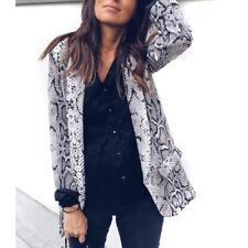 Women Ladies Print Leopard Long Sleeve Suit Coat Blazer Office Work Jacket N7