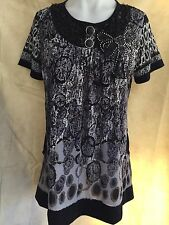 Women Loose Fitting Round Neck Short Sleeve Summer Top With Sequins Size 10