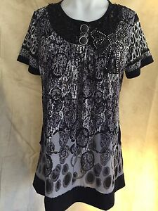 Women Round Neck Short Sleeve Summer Top With Sequins Size 10