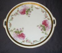 """Vintage OHME  Silesia Rose Handled Cake Plate Porcelain 10"""" Floral, Germany"""