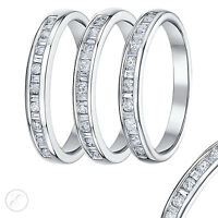 18ct White Gold Ring Ladies Princess Cut Diamond Band 0.15ct, 0.25ct, 0.33ct