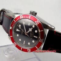 41mm CORGEUT black sterile dial red bezel Sapphire Glass automatic mens Watch