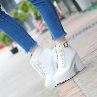 Womens Ladies Fashion Leather Cutout Lace Up Buckle Strap Combat Boots Shoes SKG