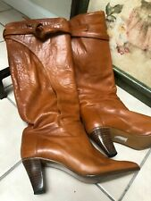 Vintage tan leather knee high stacked heel boots 7 1/2 narrow, all leather boots