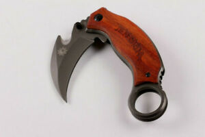 New Wood Handle Karambit Knife Outdoor Camping Hunting Blade Saber Best Gift