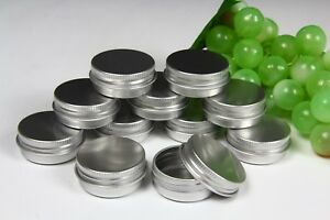 ROUND METAL TIN Small, Screw Lid, Silver, Empty - 15ml. 40mm Diam. x 16mm High