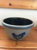 Rowe Pottery Works 2002 Signed Salt-Glazed Blue-Rimmed Mixing Bowl w Flower Moti