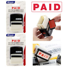 2pc Paid Pre Inked Rubber Stamp Red Ink Phrase Business Office Store Self Inking