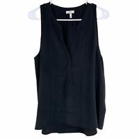 Joie V-Neck Sleeveless 100% Silk Blouse Top Large Dark Gray Black Button