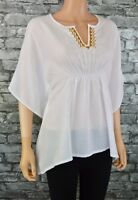 Womens White Country Chic Cotton Voile Short Sleeved Top Blouse Tunic Size 6 - 8