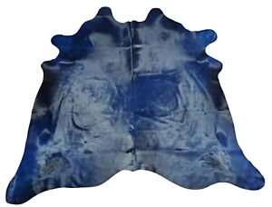 Dyed Blue Cowhide Rug Large Brazilian 84 X 80 Inches