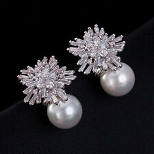9K Solid White Gold Filled Bing Snowflakes Stud Earrings (925 Silver Needle)