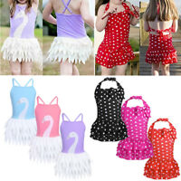 Kids Girls One-Piece Swimwear Swan Polka Dots Bikini Swimsuit Swim Dress Costume