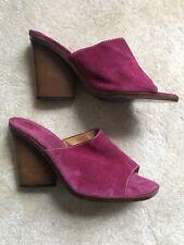 Patrick Cox Purple Suede Wooden Heel Sandals Size 4