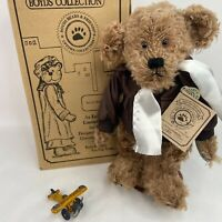 """Ace Q Dooright Boyds Mohair Bear Uptown Collection 12"""" Brown LE Aviator w Plane"""