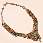 472.75 ct VINTAGE! NATURAL TURQUOISE,RED CORAL 925 STERLING SILVER NECKLACE.18''